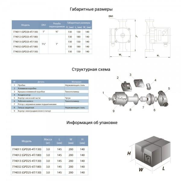 Насос циркуляционный с термодатчиком 100Вт Hmax 6м Qmax 75л/мин Ø1½