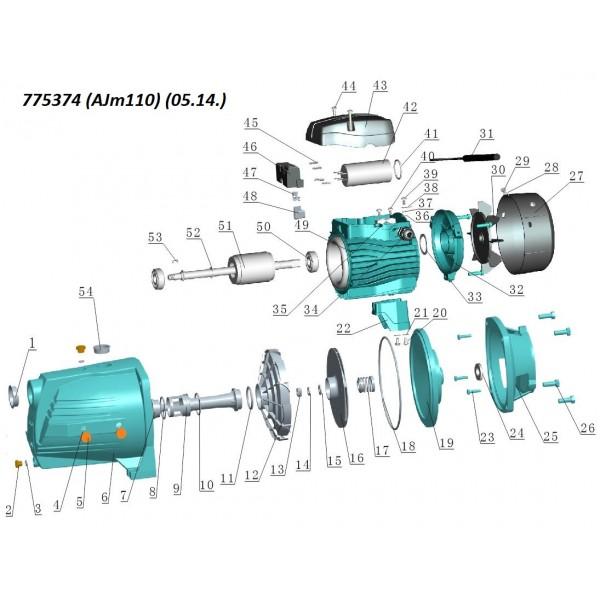 Насос центробежный самовсасывающий 1.1кВт Hmax 55м Qmax 100л/мин LEO 3.0 (775374)