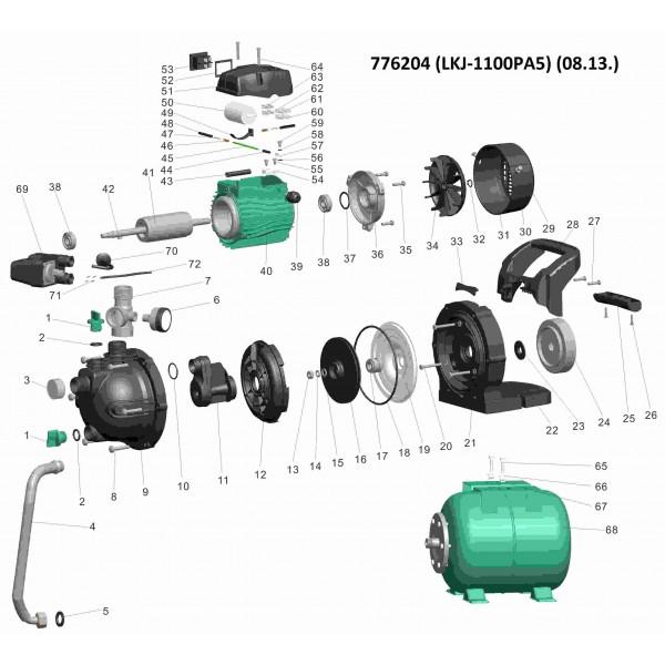 Станция 1.1кВт Hmax 46м Qmax 70л/мин (самовсасывающий насос) 24л LEO (776204)