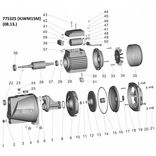 Насос центробежный самовсасывающий 1.1кВт Hmax 55м Qmax 90л/мин LEO (775325)