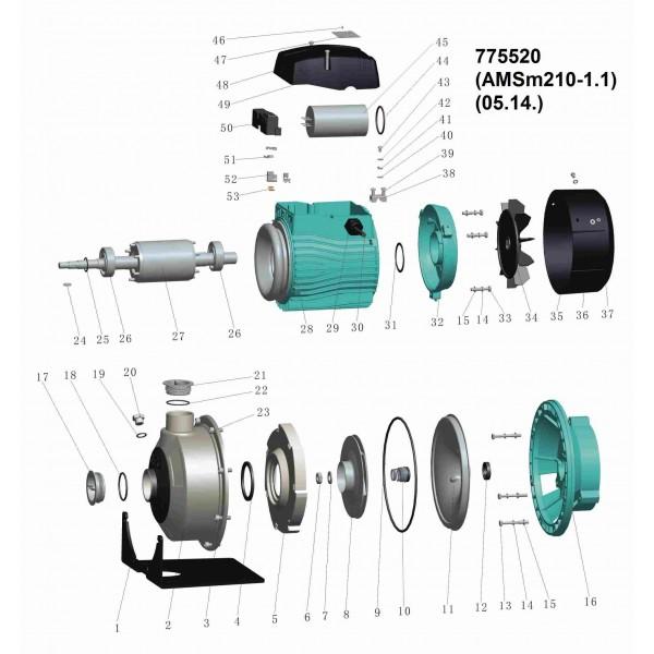 Насос центробежный 1.1кВт Hmax 19.7м Qmax 300л/мин (нерж) LEO 3.0 (775520)