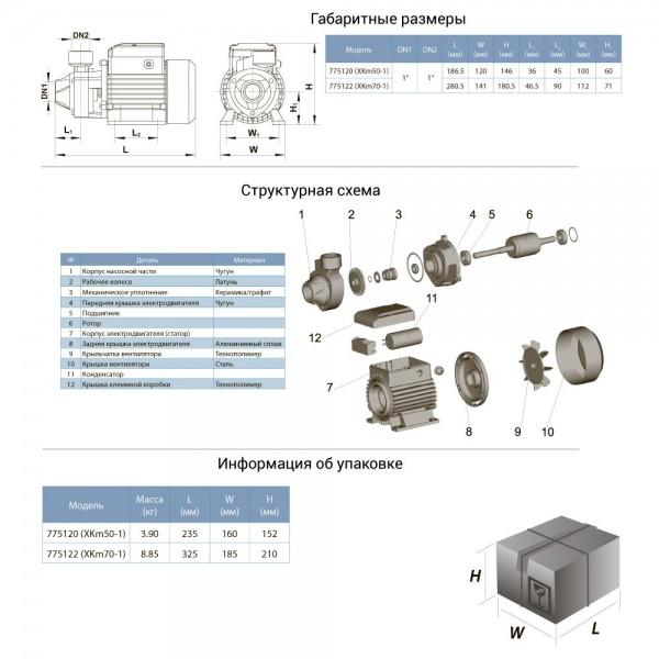 Насос вихревой 0.11кВт Hmax 23м Qmax 25л/мин LEO (775120)