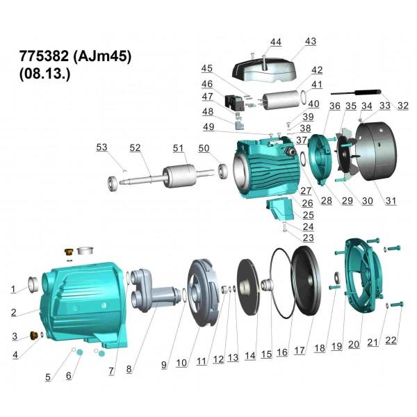 Насос центробежный самовсасывающий 0.45кВт Hmax 41м Qmax 45л/мин LEO 3.0 (775382)
