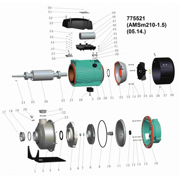 Насос центробежный 1.5кВт Hmax 24.2м Qmax 300л/мин (нерж) LEO 3.0 (775521)