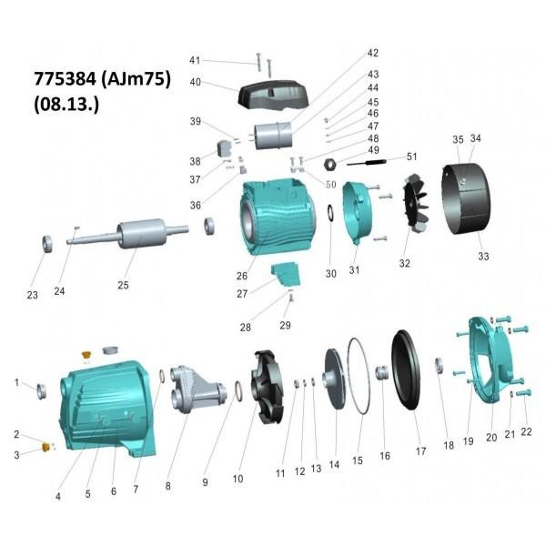 Насос центробежный самовсасывающий 0.75кВт Hmax 40м Qmax 85л/мин LEO 3.0 (775384)