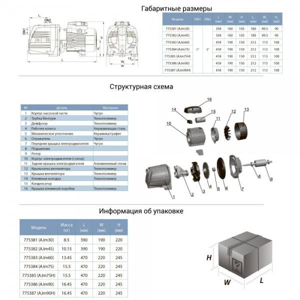 Насос центробежный самовсасывающий 0.6кВт Hmax 45м Qmax 45л/мин LEO 3.0 (775383)