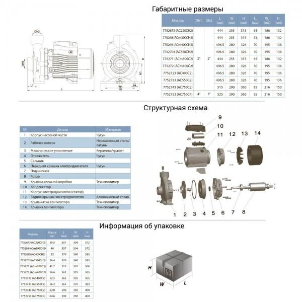 Насос центробежный 380В 3.0кВт Hmax 38м Qmax 450л/мин 2