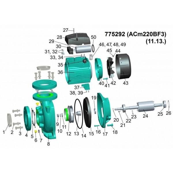Насос центробежный 2.2кВт Hmax 17.5м Qmax 1100л/мин 3