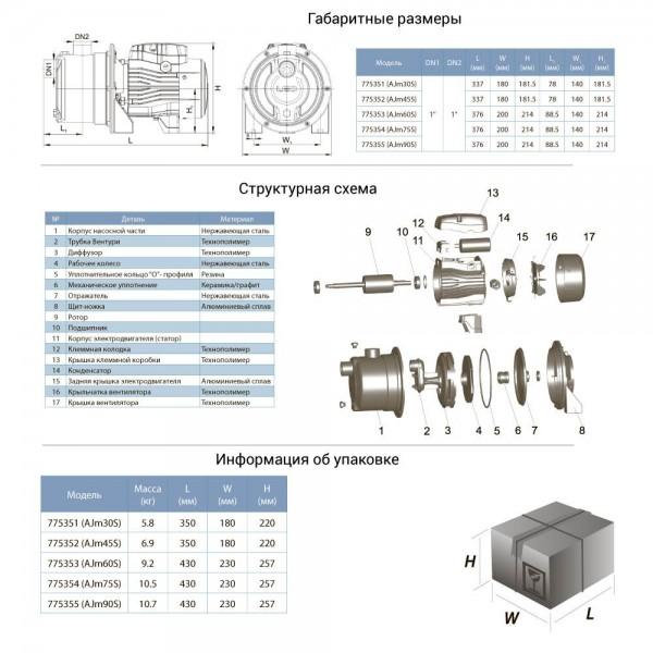 Насос центробежный самовсасывающий 1.1кВт Hmax 45м Qmax 70л/мин LEO (775344)