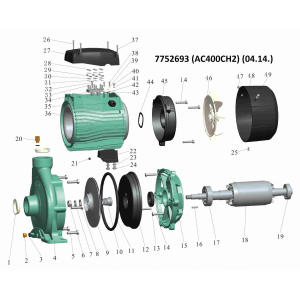 Насос центробежный 380В 4.0кВт Hmax 49м Qmax 450л/мин 2