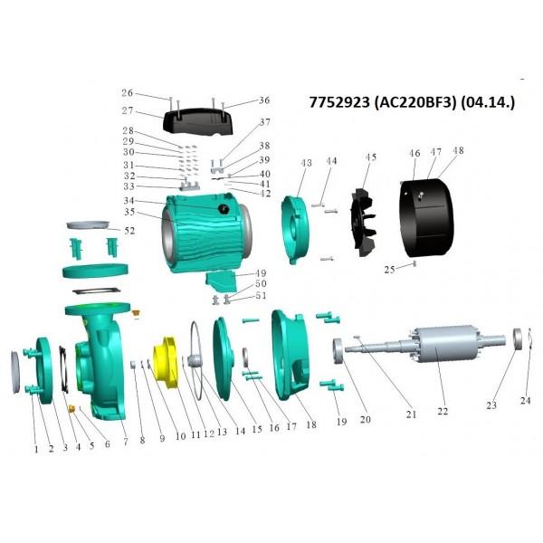 Насос центробежный 380В 2.2кВт Hmax 17.5м Qmax 1000л/мин 3