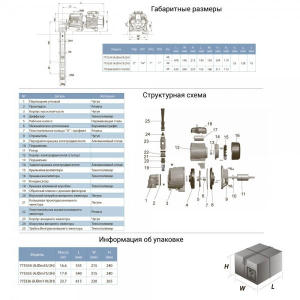 Насос центробежный с внешним эжектором 0.55кВт HSmax 30м Hmax 37м Qmax 20л/мин LEO 3.0 (775334)