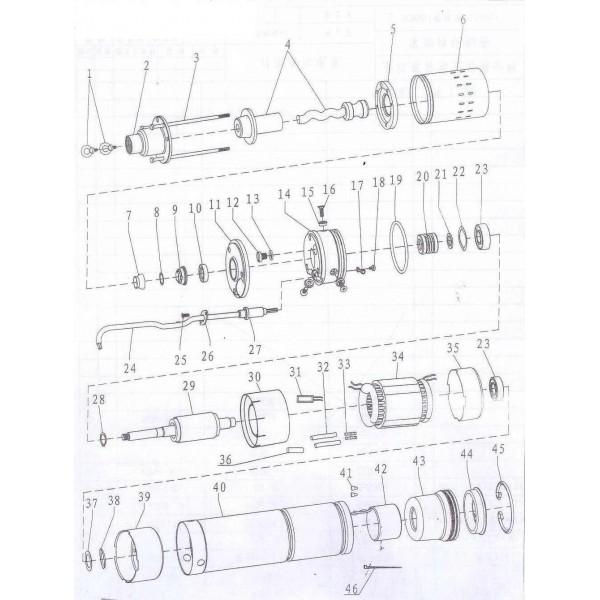 Насос шнековый скважинный 1.1кВт H 190(116)м Q 45(25)л/мин Ø96мм (нерж) AQUATICA (DONGYIN) (777214)