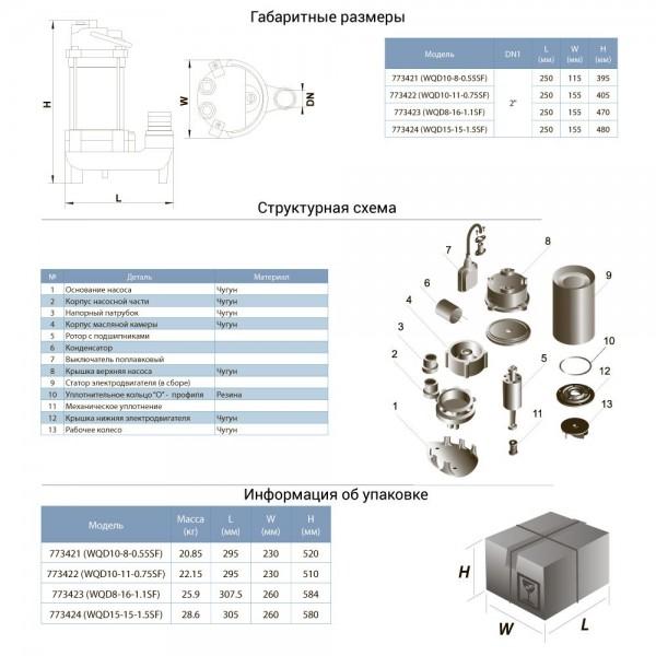 Насос канализационный 0.75кВт Hmax 14м Qmax 275л/мин (нерж) AQUATICA (773422)