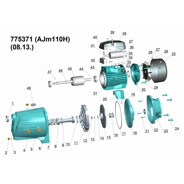 Насос центробежный самовсасывающий 1.1кВт Hmax 60м Qmax 60л/мин LEO 3.0 (775371)