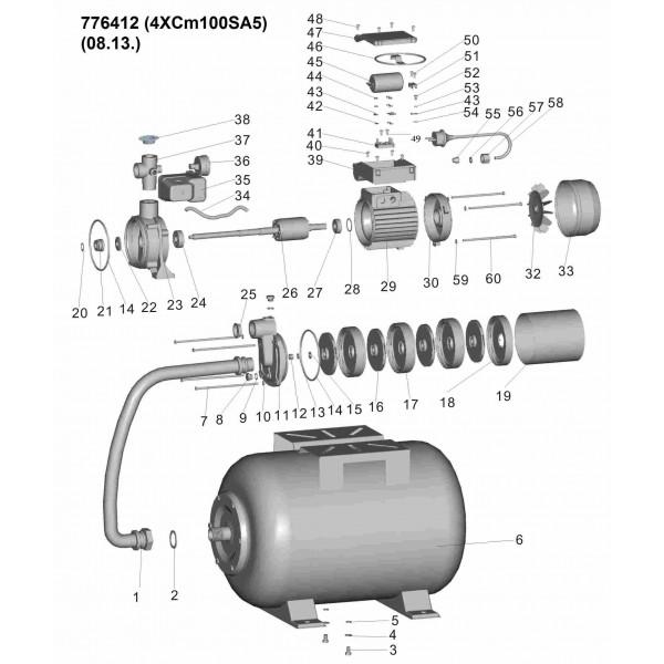 Станция 0.75кВт Hmax 45м Qmax 90л/мин (многоступ. насос) 24л LEO (776412)