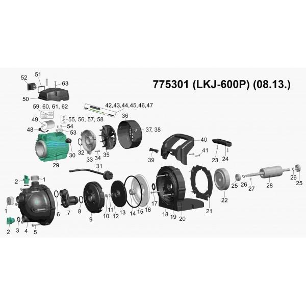 Насос центробежный самовсасывающий 0.6кВт Hmax 35м Qmax 50л/мин LEO (775301)