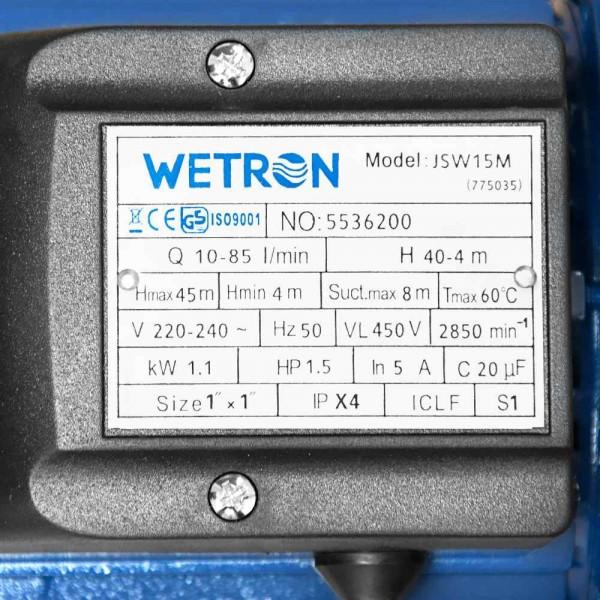 Насос центробежный самовсасывающий 1.1кВт Hmax 45м Qmax 85л/мин WETRON (775035)
