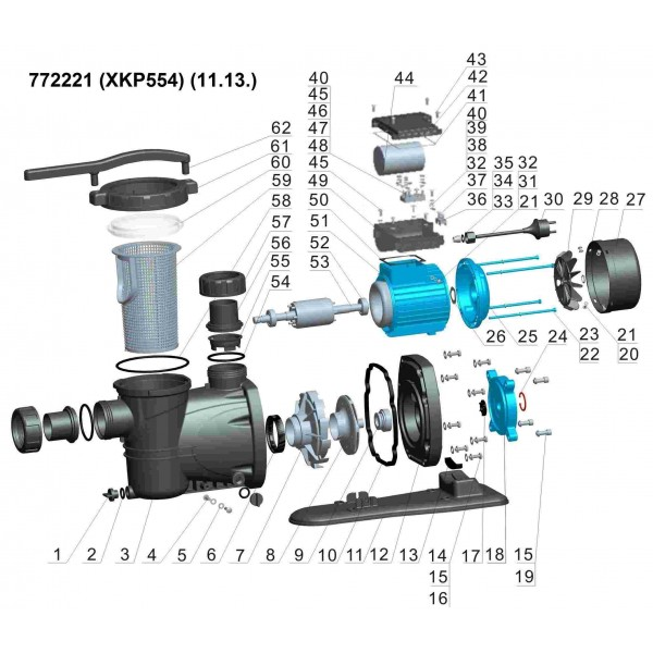 Насос для бассейна 0.55кВт Hmax 10м Qmax 300л/мин LEO (772221)