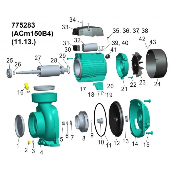 Насос центробежный 1.5кВт Hmax 14.5м Qmax 1000л/мин 4