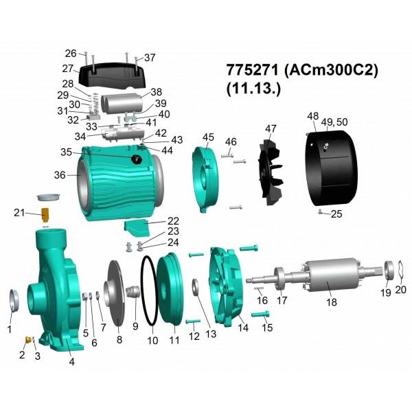 Насос центробежный 3.0кВт Hmax 30м Qmax 800л/мин 2