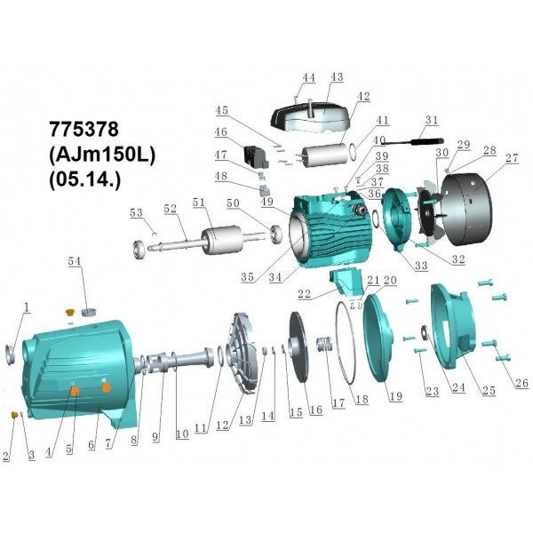 Насос центробежный самовсасывающий 1.5кВт Hmax 54м Qmax 140л/мин LEO 3.0 (775378)