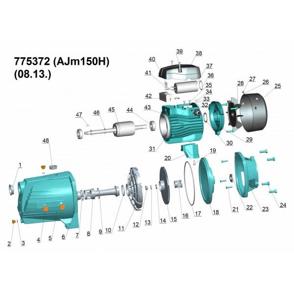 Насос центробежный самовсасывающий 1.5кВт Hmax 72м Qmax 60л/мин LEO 3.0 (775372)