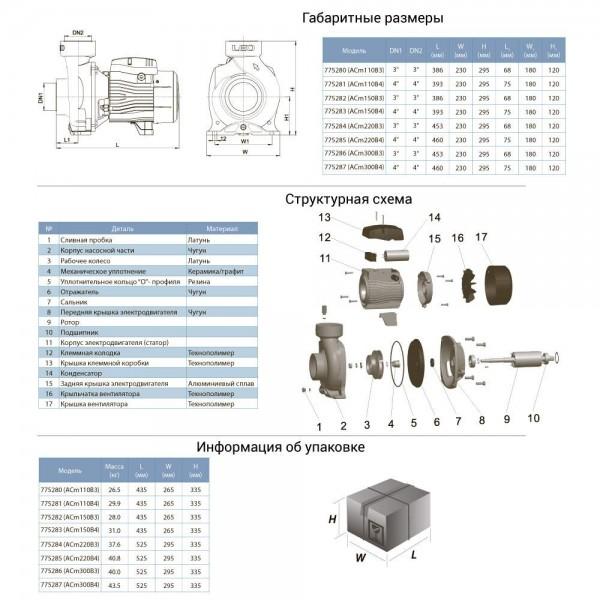 Насос центробежный 2.2кВт Hmax 17.5м Qmax 1100л/мин 4