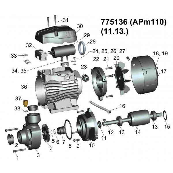 Насос вихревой 1.1кВт Hmax 85м Qmax 70л/мин LEO 3.0 (775136)