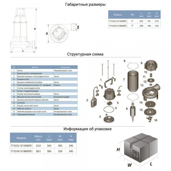 Насос канализационный 1.3кВт Hmax 12м Qmax 300л/мин (с ножом) AQUATICA (773332)