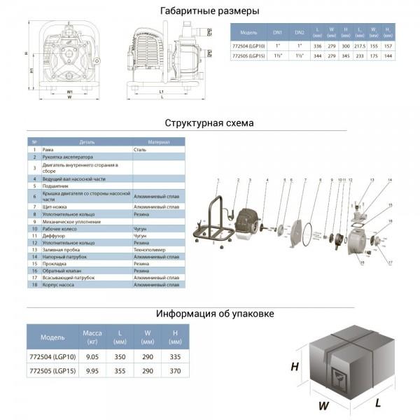 Мотопомпа 1.6л.с. Hmax 35м Qmax 15м³/ч (2-х тактный) LEO (772505)