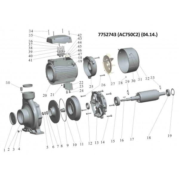 Насос центробежный 380В 7.5кВт Hmax 56.5м Qmax 900л/мин 2